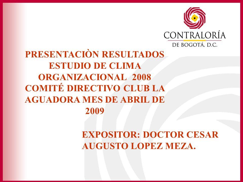 PRESENTACIÒN RESULTADOS ESTUDIO DE CLIMA ORGANIZACIONAL 2008 COMITÉ DIRECTIVO CLUB LA AGUADORA MES DE ABRIL DE 2009 EXPOSITOR: DOCTOR CESAR AUGUSTO LOPEZ MEZA.