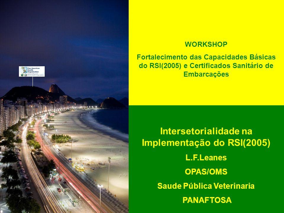 Intersetorialidade na Implementação do RSI(2005) L.F.Leanes OPAS/OMS Saude Pública Veterinaria PANAFTOSA WORKSHOP Fortalecimento das Capacidades Básic