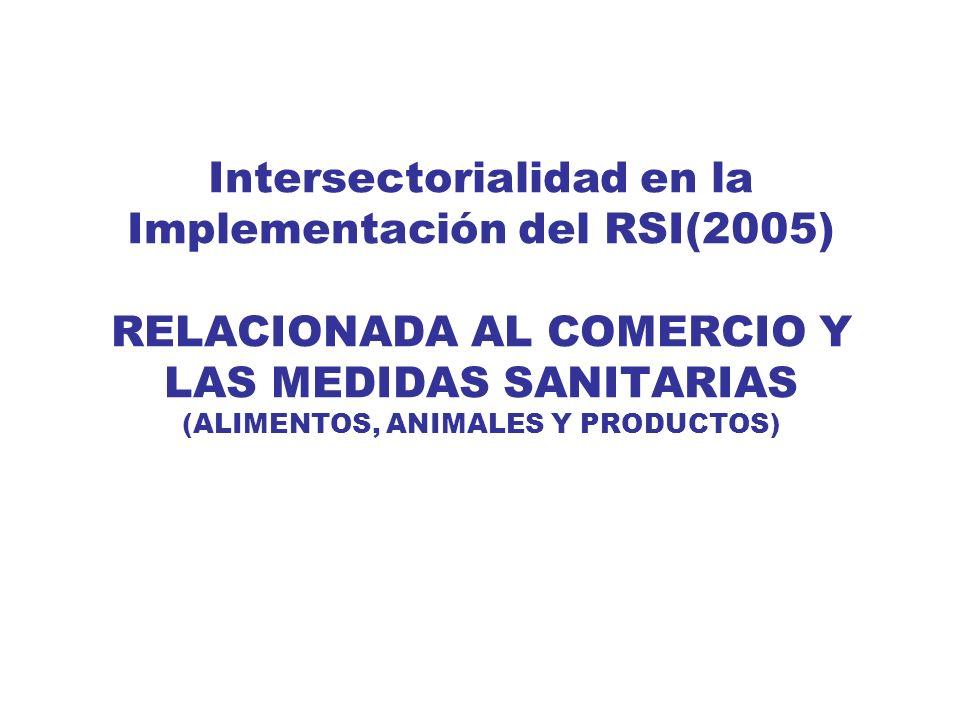 Intersectorialidad en la Implementación del RSI(2005) RELACIONADA AL COMERCIO Y LAS MEDIDAS SANITARIAS (ALIMENTOS, ANIMALES Y PRODUCTOS)