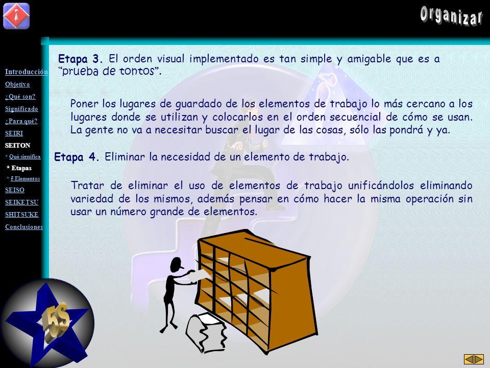 Etapas de la implantación de orden Los elementos de trabajo son: Accesorios, herramientas, utensilios, papelería, artículos en general, etc. Etapa 0.