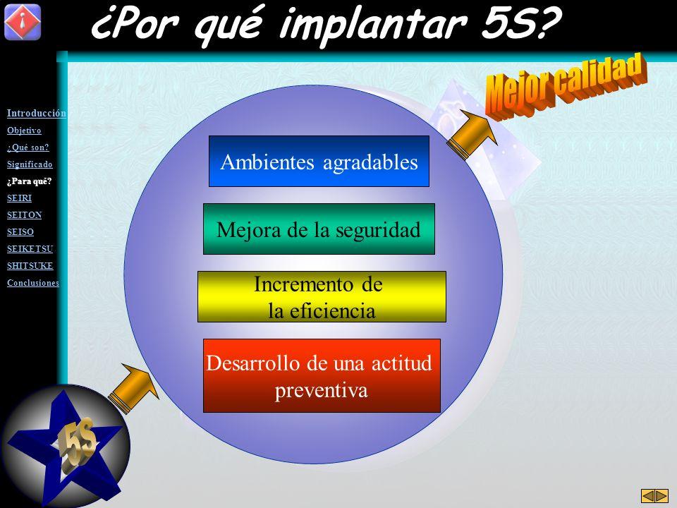 Ambientes agradables Mejora de la seguridad Incremento de la eficiencia Desarrollo de una actitud preventiva ¿Por qué implantar 5S?