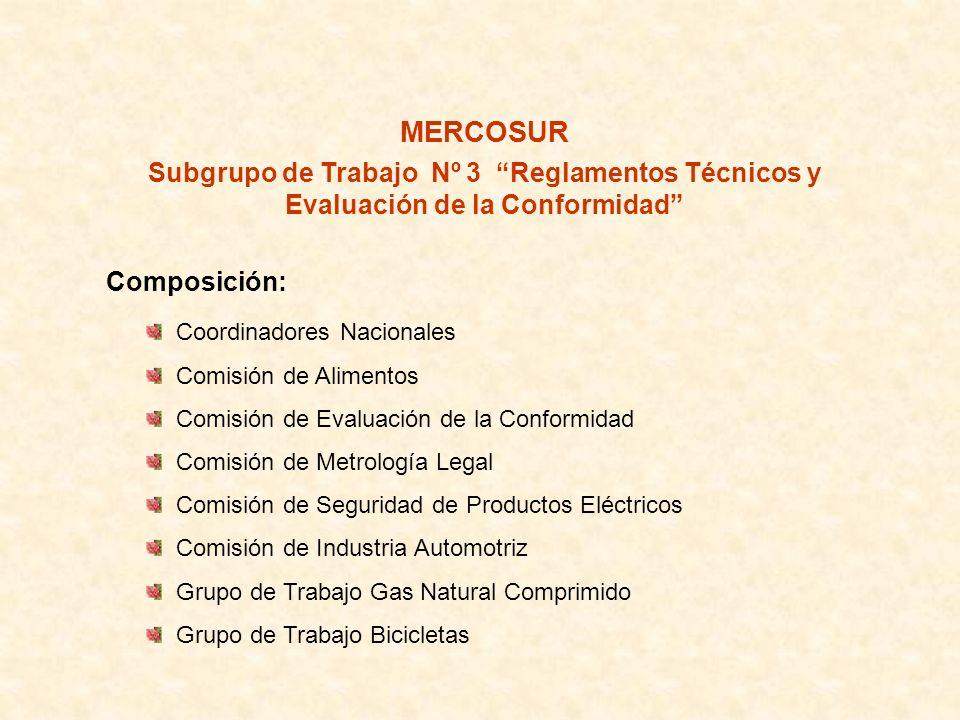 MERCOSUR Subgrupo de Trabajo Nº 3 Reglamentos Técnicos y Evaluación de la Conformidad Composición: Coordinadores Nacionales Comisión de Alimentos Comi