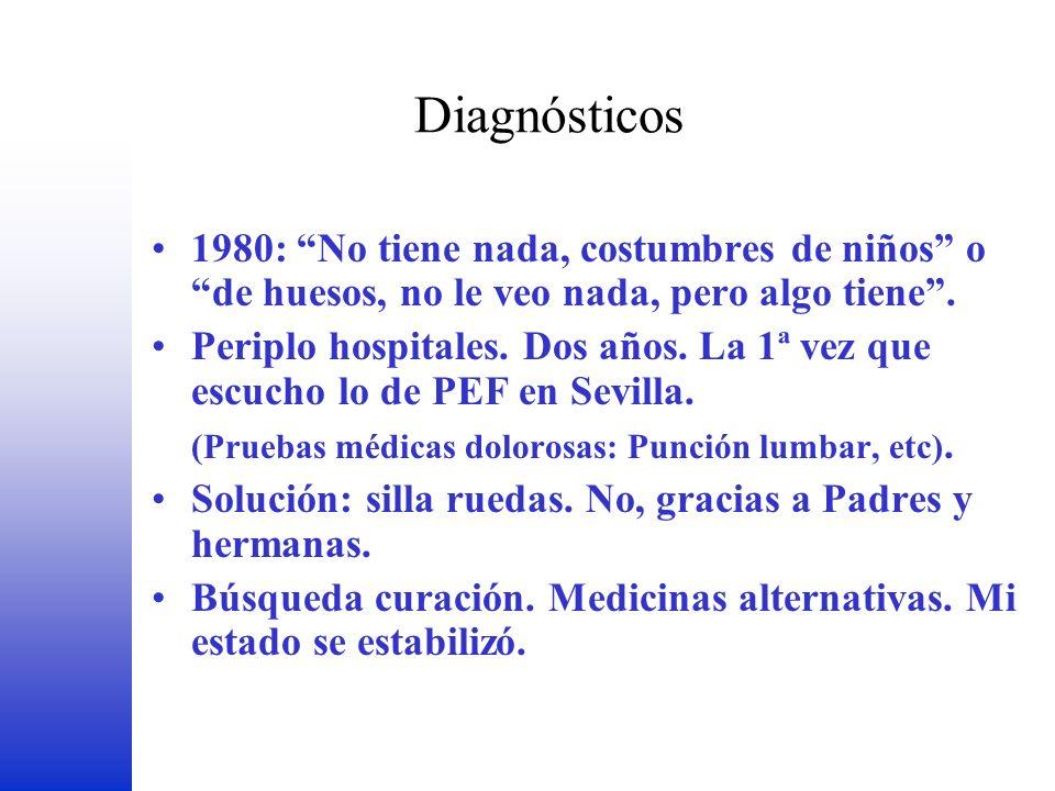 Diagnósticos 1980: No tiene nada, costumbres de niños o de huesos, no le veo nada, pero algo tiene. Periplo hospitales. Dos años. La 1ª vez que escuch