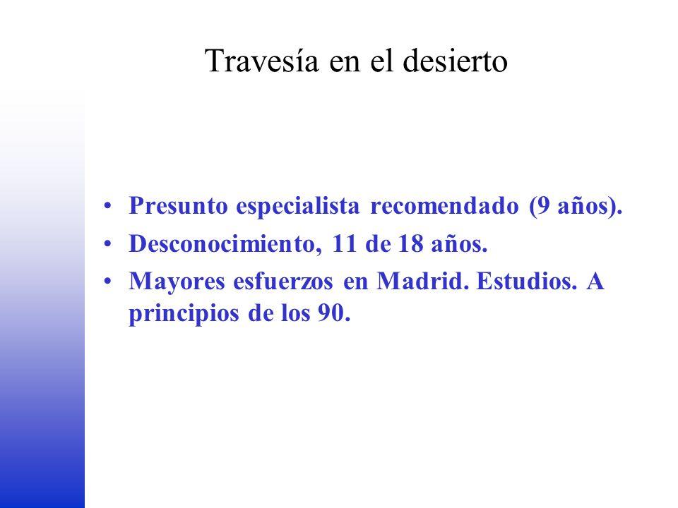 Travesía en el desierto Presunto especialista recomendado (9 años). Desconocimiento, 11 de 18 años. Mayores esfuerzos en Madrid. Estudios. A principio