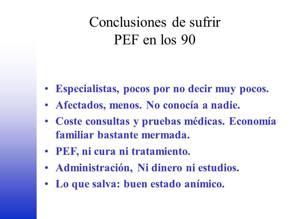 Conclusiones de sufrir PEF en los 90 FEDER Especialistas, pocos por no decir muy pocos. Afectados, menos. No conocía a nadie. Coste consultas y prueba