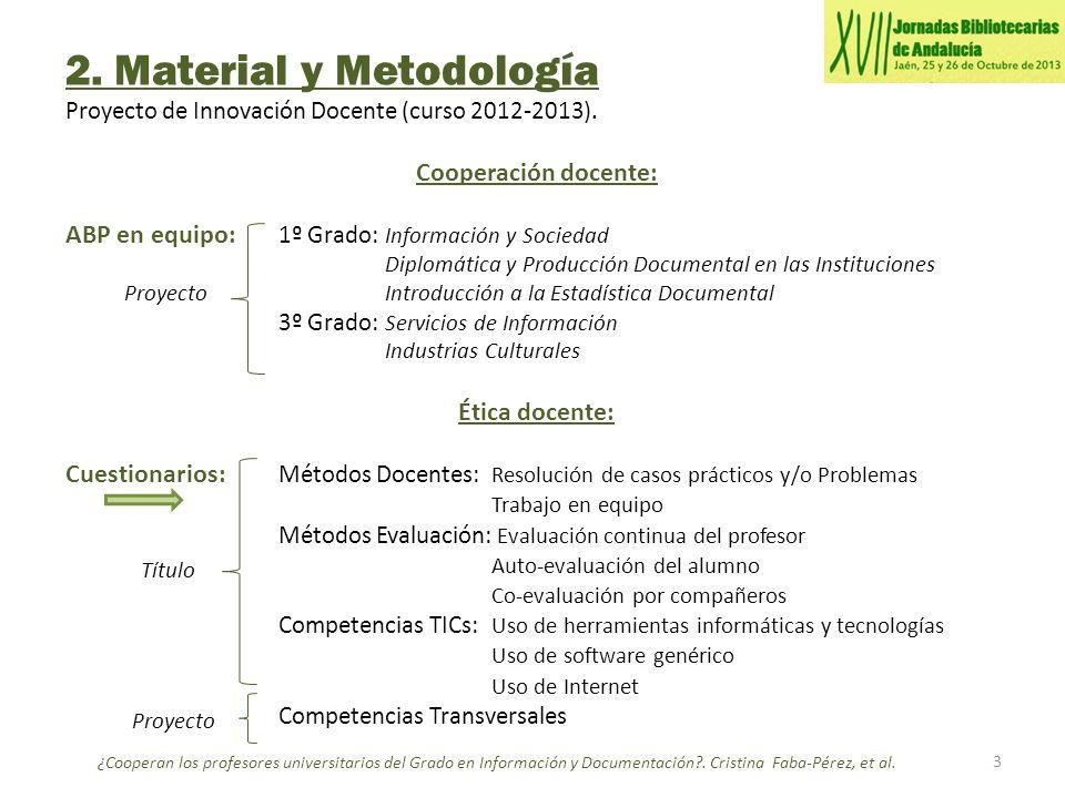 2. Material y Metodología Proyecto de Innovación Docente (curso 2012-2013). Cooperación docente: ABP en equipo: 1º Grado: Información y Sociedad Diplo