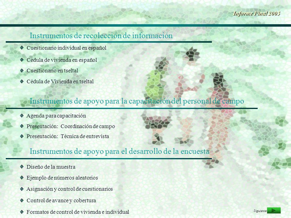 Instrumentos de recolección de información Informe Final 2005 Cuestionario individual en español Cédula de vivienda en español Cédula de Vivienda en t