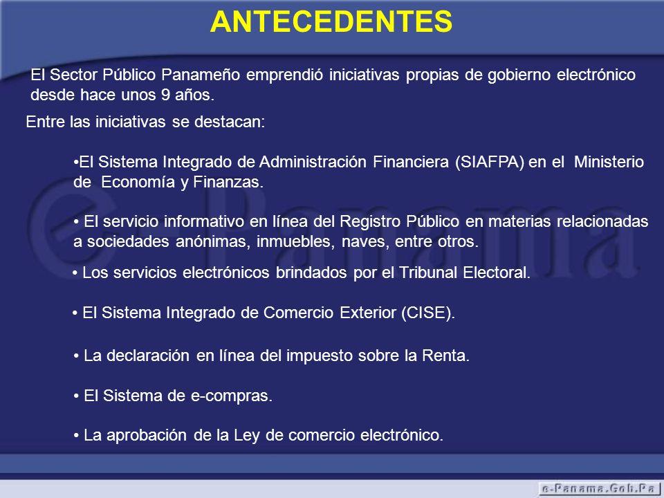 Entre las iniciativas se destacan: El Sistema Integrado de Administración Financiera (SIAFPA) en el Ministerio de Economía y Finanzas. El servicio inf