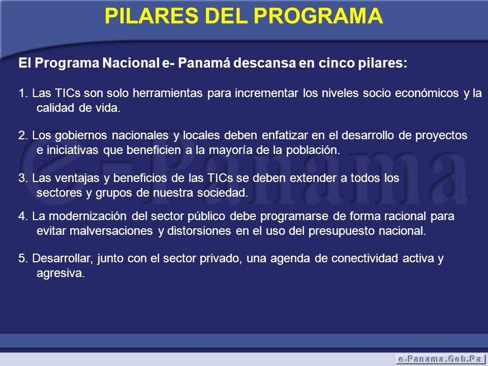 PILARES DEL PROGRAMA El Programa Nacional e- Panamá descansa en cinco pilares: 2. Los gobiernos nacionales y locales deben enfatizar en el desarrollo