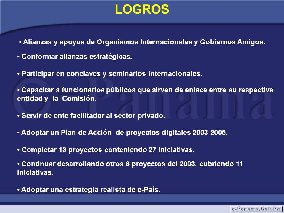 LOGROS Alianzas y apoyos de Organismos Internacionales y Gobiernos Amigos. Conformar alianzas estratégicas. Participar en conclaves y seminarios inter