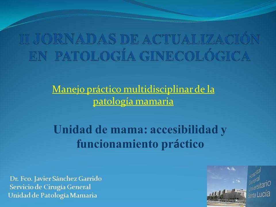 Manejo práctico multidisciplinar de la patología mamaria Unidad de mama: accesibilidad y funcionamiento pr á ctico Dr. Fco. Javier Sánchez Garrido Ser
