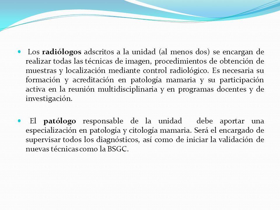 Los radiólogos adscritos a la unidad (al menos dos) se encargan de realizar todas las técnicas de imagen, procedimientos de obtención de muestras y lo