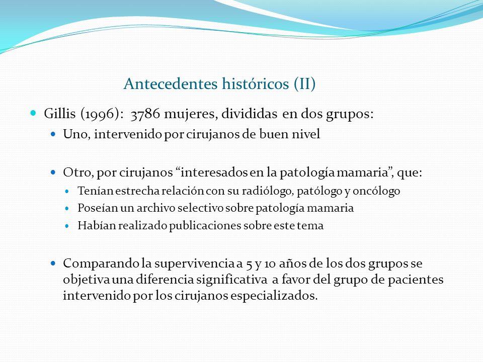 Antecedentes históricos (II) Gillis (1996): 3786 mujeres, divididas en dos grupos: Uno, intervenido por cirujanos de buen nivel Otro, por cirujanos in