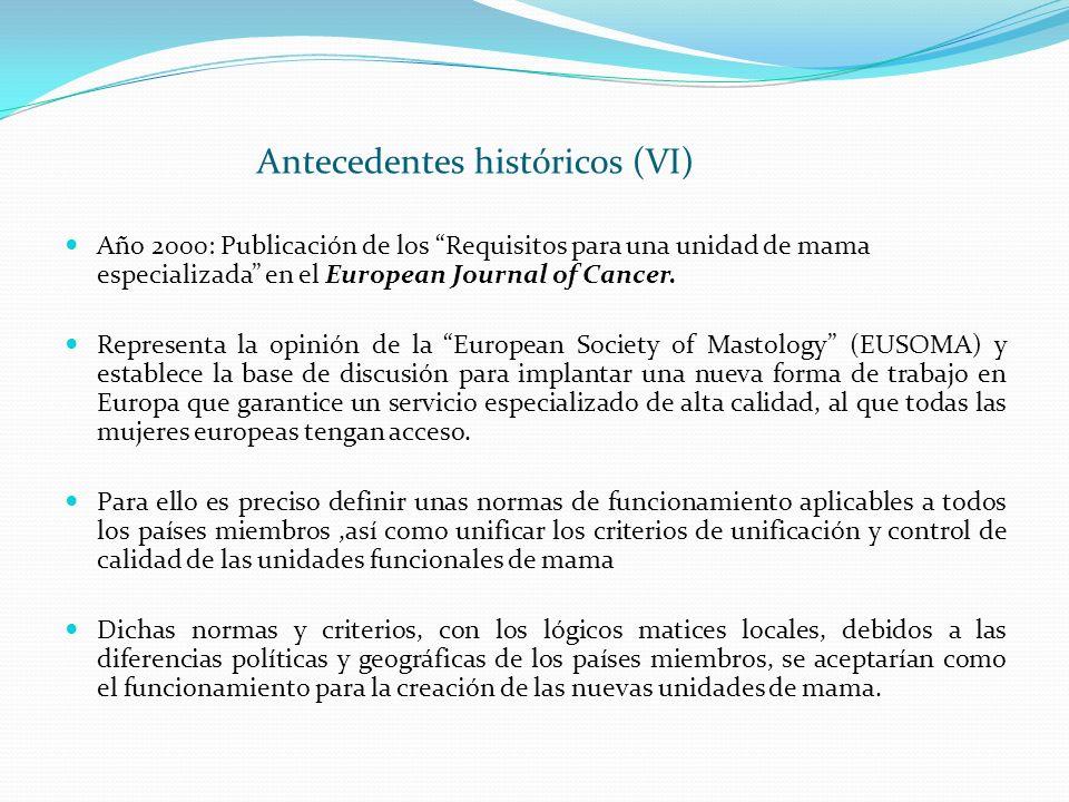 Antecedentes históricos (VI) Año 2000: Publicación de los Requisitos para una unidad de mama especializada en el European Journal of Cancer. Represent