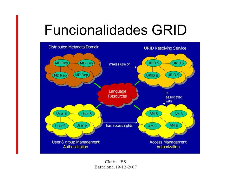 Funcionalidades GRID Clarin – ES Barcelona, 19-12-2007