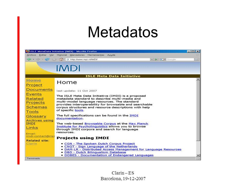 Clarin – ES Barcelona, 19-12-2007 Metadatos