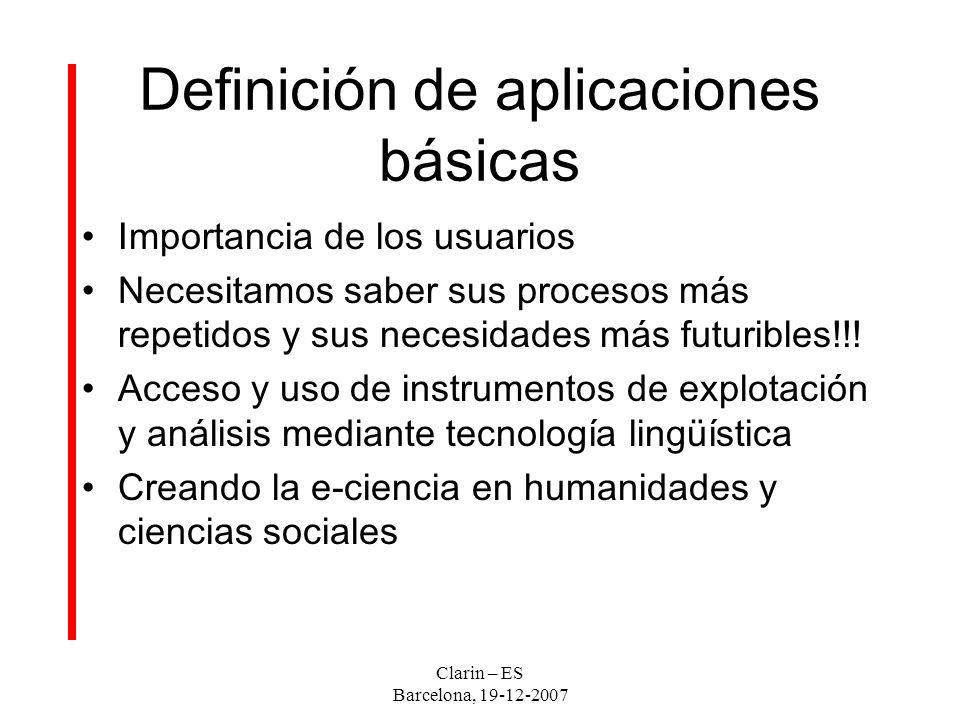 Definición de aplicaciones básicas Importancia de los usuarios Necesitamos saber sus procesos más repetidos y sus necesidades más futuribles!!.