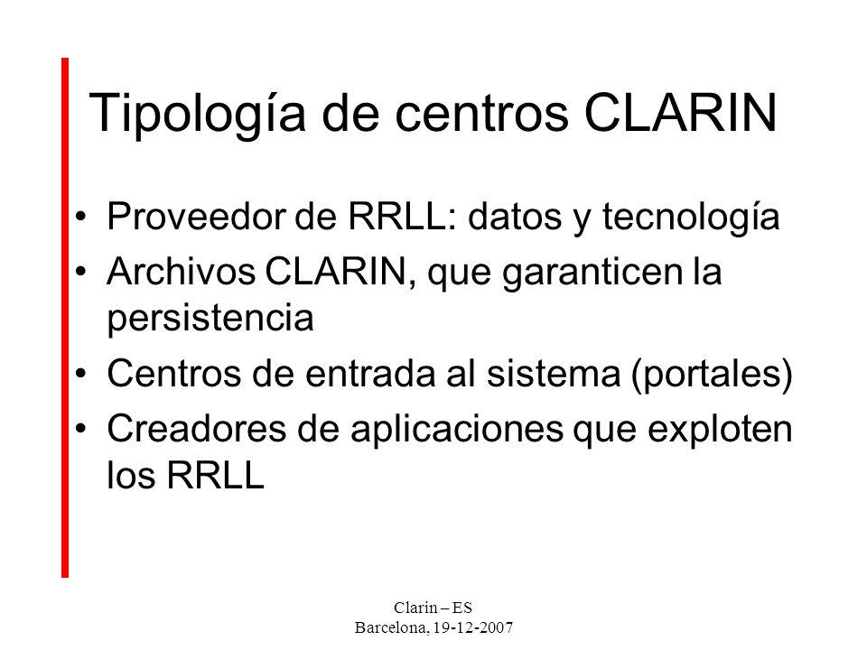 Clarin – ES Barcelona, 19-12-2007 Tipología de centros CLARIN Proveedor de RRLL: datos y tecnología Archivos CLARIN, que garanticen la persistencia Centros de entrada al sistema (portales) Creadores de aplicaciones que exploten los RRLL