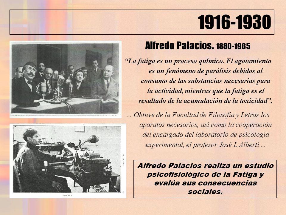 1916-1930 Alfredo Palacios. 1880-1965 La fatiga es un proceso químico. El agotamiento es un fenómeno de parálisis debidos al consumo de las substancia