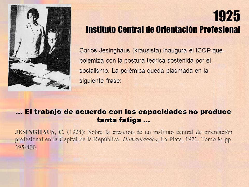 ... El trabajo de acuerdo con las capacidades no produce tanta fatiga... JESINGHAUS, C. (1924): Sobre la creación de un instituto central de orientaci