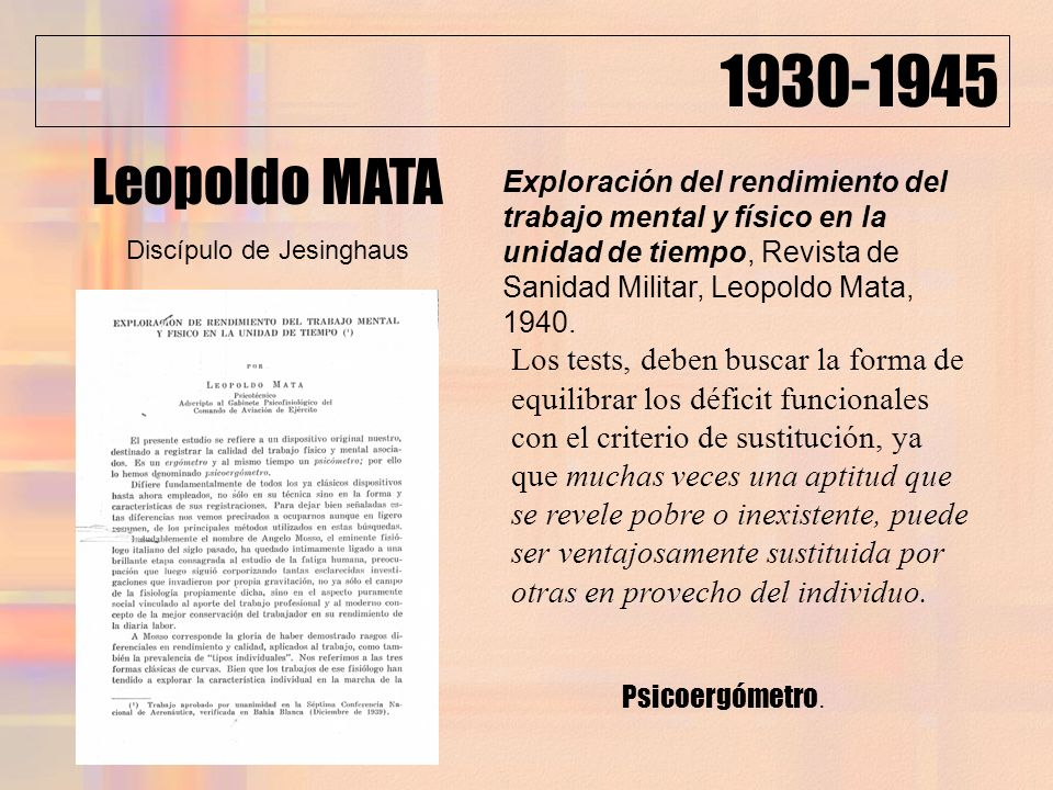 1930-1945 Exploración del rendimiento del trabajo mental y físico en la unidad de tiempo, Revista de Sanidad Militar, Leopoldo Mata, 1940. Los tests,