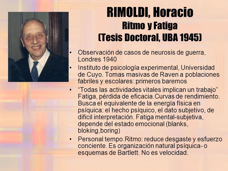 RIMOLDI, Horacio Ritmo y Fatiga (Tesis Doctoral, UBA 1945) Observación de casos de neurosis de guerra, Londres 1940 Instituto de psicología experiment