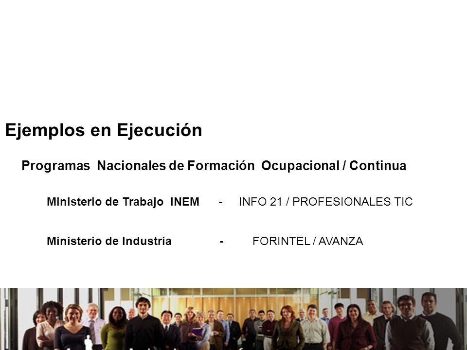 21/04/2014 Programas Nacionales de Formación Ocupacional / Continua Ministerio de Trabajo INEM - INFO 21 / PROFESIONALES TIC Ministerio de Industria -