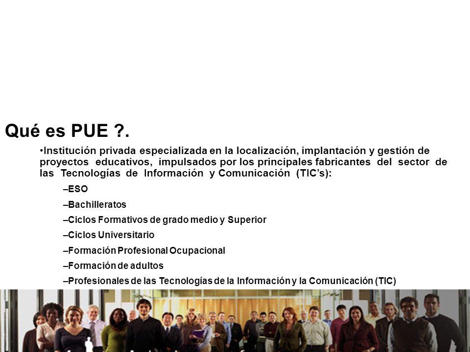 21/04/2014 Qué es PUE ?. Institución privada especializada en la localización, implantación y gestión de proyectos educativos, impulsados por los prin