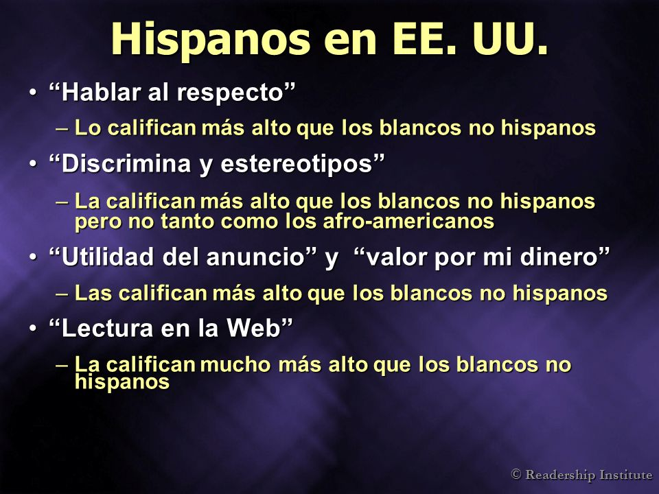 © Readership Institute Hispanos en EE.UU.
