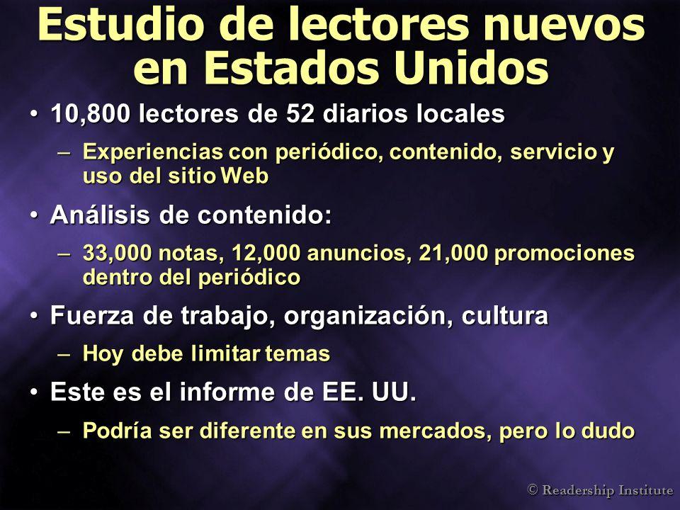 © Readership Institute La diversidad interna importa 0 10 20 30 40 50 MujeresAdministra doras No-blancosGerentes No blancos P.