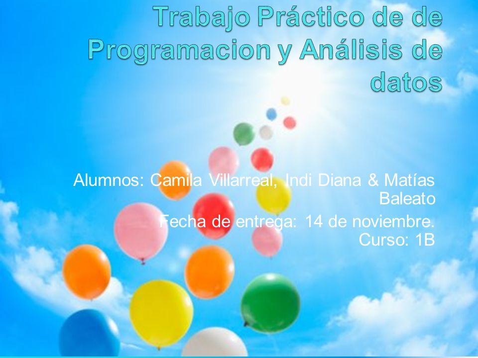Alumnos: Camila Villarreal, Indi Diana & Matías Baleato Fecha de entrega: 14 de noviembre.