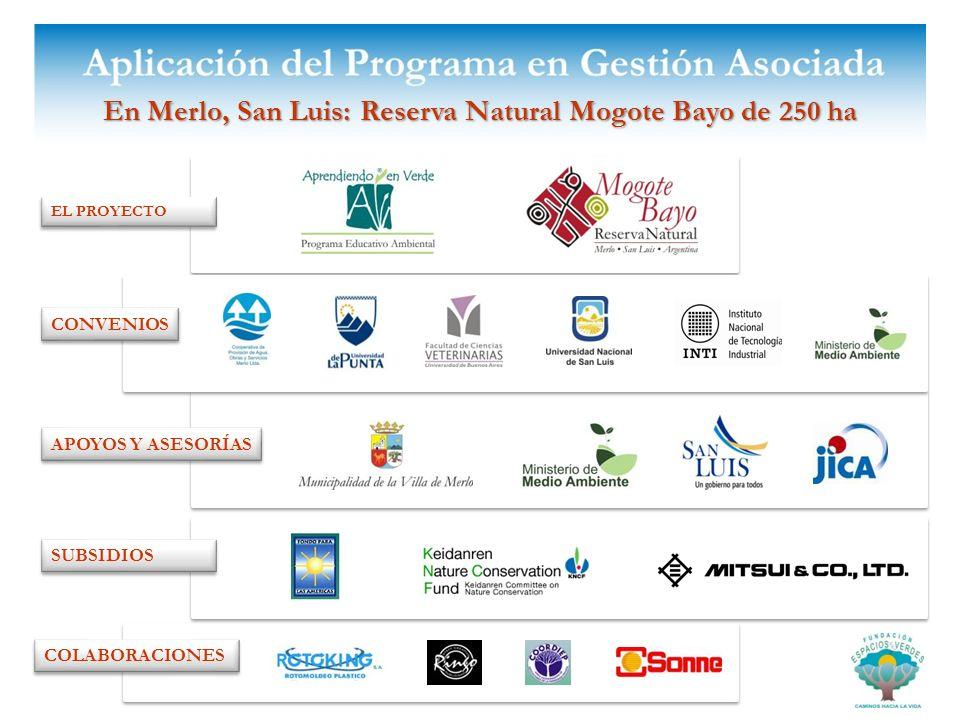 En Merlo, San Luis: Reserva Natural Mogote Bayo de 250 ha EL PROYECTO APOYOS Y ASESORÍAS COLABORACIONES SUBSIDIOS CONVENIOS