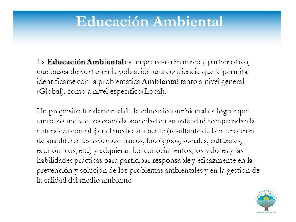 Educación Ambiental La Educación Ambiental es un proceso dinámico y participativo, que busca despertar en la población una conciencia que le permita i