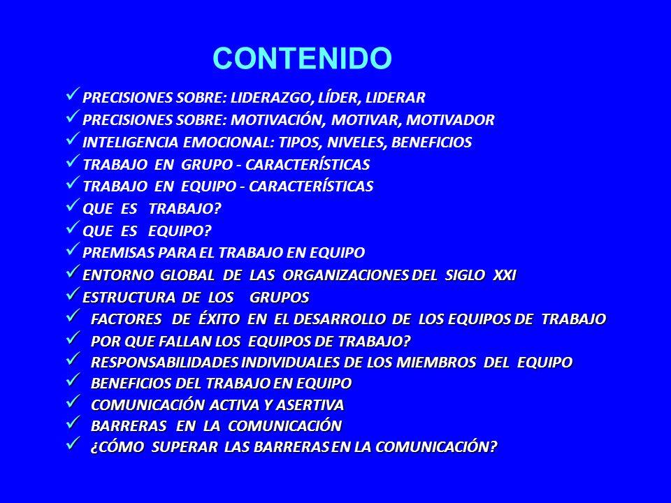 RESULTADOS QUE LOGRA EL PARTICIPANTE CONOCIMIENTO Y MANEJO DEL LIDERAZGO CONOCIMIENTO Y MANEJO DE LA MOTIVACIÓN CONOCER, APLICAR Y DESARROLLAR LA INTELIGENCIA EMOCIONAL DIFERENCIAR EL TRABAJO DE GRUPO Y DE EQUIPO POTENCIAR LA FILOSOFÍA DEL TRABAJO EN EQUIPO ELEVAR EL NIVEL DE IDENTIFICACIÓN CON LA EMPRESA MEJORAR LA COMUNICACIÓN INTERNA Y EXTERNA ELIMINAR LAS BARRERAS EN LA COMUNICACIÓN APRENDIZAJE Y PRACTICA DE LA ESCUCHA ACTIVA ADAPTARSE AL ENTORNO GLOBAL DE LA EMPRESA ELIMINAR Y/O SOLUCIONAR LOS CONFLICTOS INTERNOS