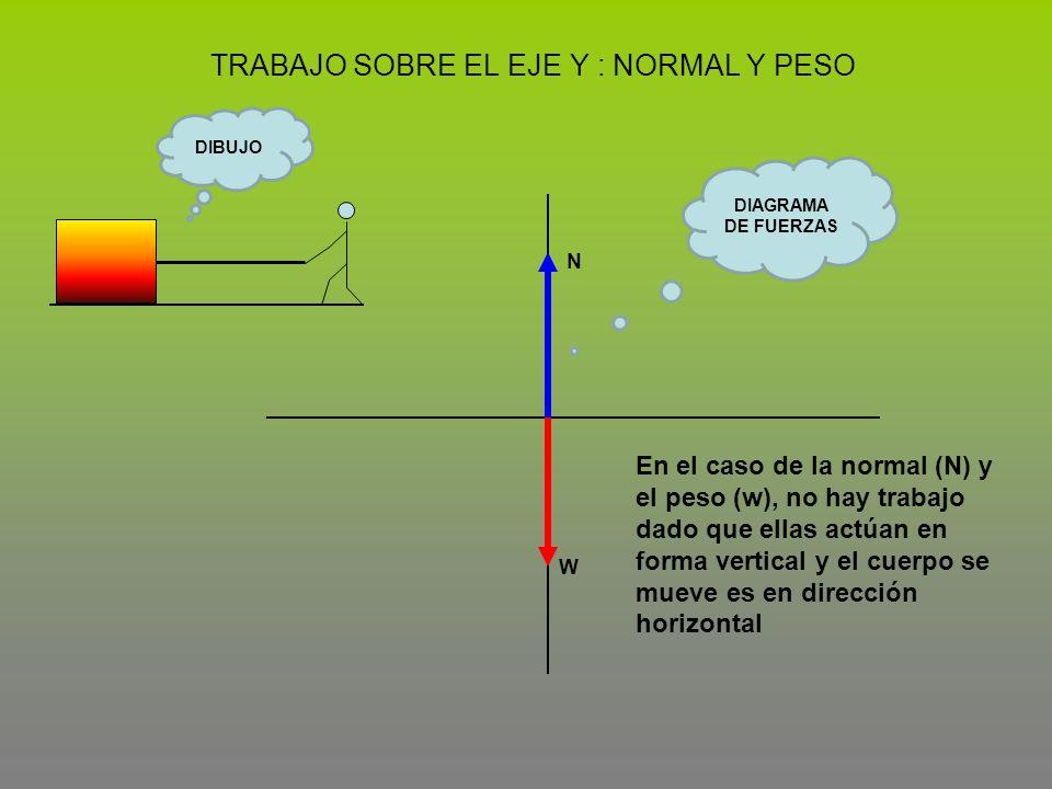 TRABAJO SOBRE EL EJE Y : NORMAL Y PESO W N En el caso de la normal (N) y el peso (w), no hay trabajo dado que ellas actúan en forma vertical y el cuer