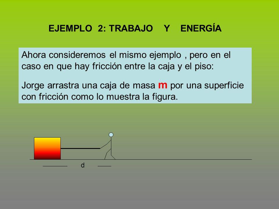 EJEMPLO 2: TRABAJO Y ENERGÍA Ahora consideremos el mismo ejemplo, pero en el caso en que hay fricción entre la caja y el piso: Jorge arrastra una caja