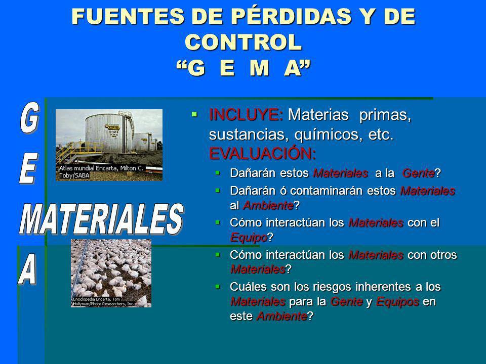 FUENTES DE PÉRDIDAS Y DE CONTROL G E M A INCLUYE: Materias primas, sustancias, químicos, etc. EVALUACIÓN: INCLUYE: Materias primas, sustancias, químic
