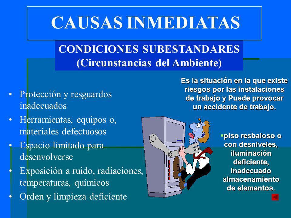 CAUSAS INMEDIATAS Protección y resguardos inadecuados Herramientas, equipos o, materiales defectuosos Espacio limitado para desenvolverse Exposición a