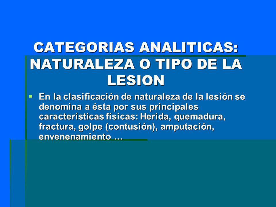 CATEGORIAS ANALITICAS: NATURALEZA O TIPO DE LA LESION En la clasificación de naturaleza de la lesión se denomina a ésta por sus principales caracterís