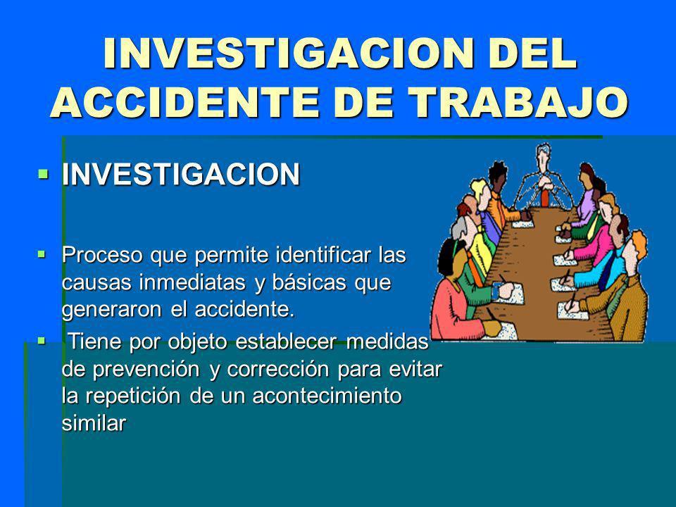 INVESTIGACION INVESTIGACION Proceso que permite identificar las causas inmediatas y básicas que generaron el accidente. Proceso que permite identifica