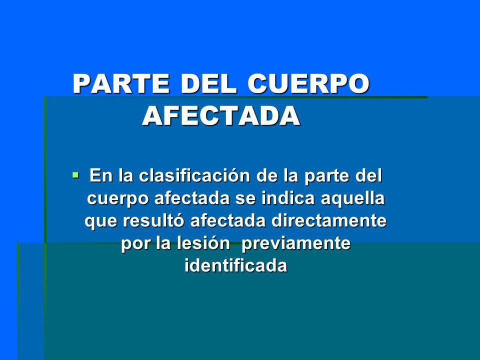 PARTE DEL CUERPO AFECTADA En la clasificación de la parte del cuerpo afectada se indica aquella que resultó afectada directamente por la lesión previa