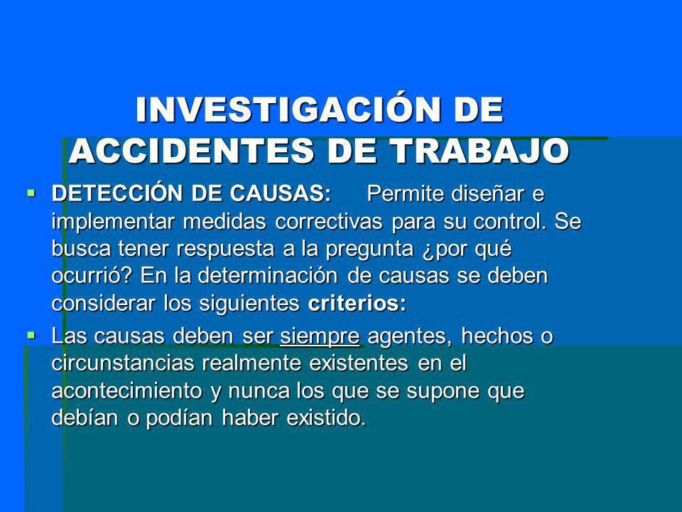 INVESTIGACIÓN DE ACCIDENTES DE TRABAJO DETECCIÓN DE CAUSAS: Permite diseñar e implementar medidas correctivas para su control. Se busca tener respuest