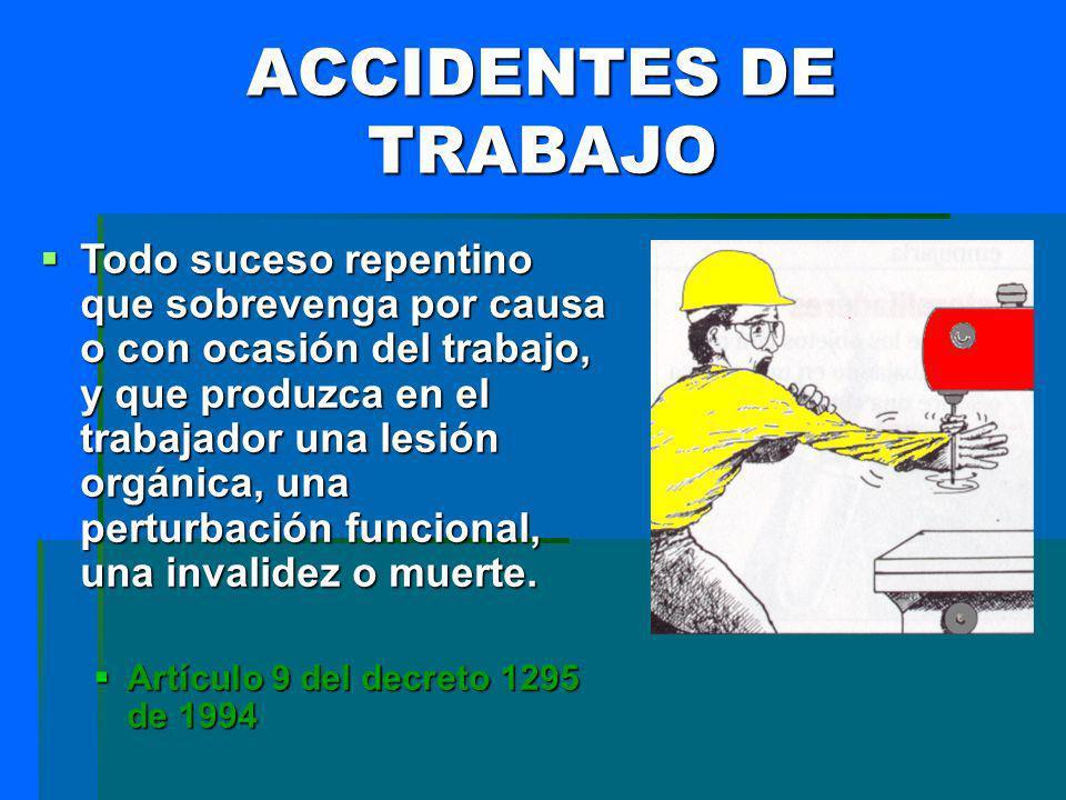 ACCIDENTES DE TRABAJO Todo suceso repentino que sobrevenga por causa o con ocasión del trabajo, y que produzca en el trabajador una lesión orgánica, u