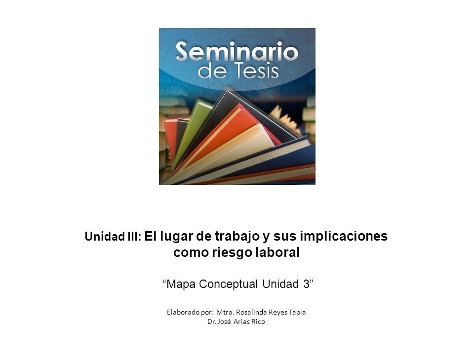 Unidad III: El lugar de trabajo y sus implicaciones como riesgo laboral Mapa Conceptual Unidad 3 Elaborado por: Mtra. Rosalinda Reyes Tapia Dr. José A