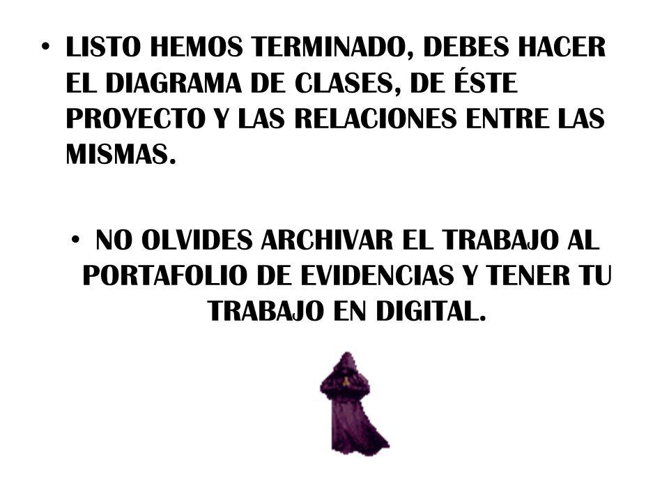 LISTO HEMOS TERMINADO, DEBES HACER EL DIAGRAMA DE CLASES, DE ÉSTE PROYECTO Y LAS RELACIONES ENTRE LAS MISMAS.