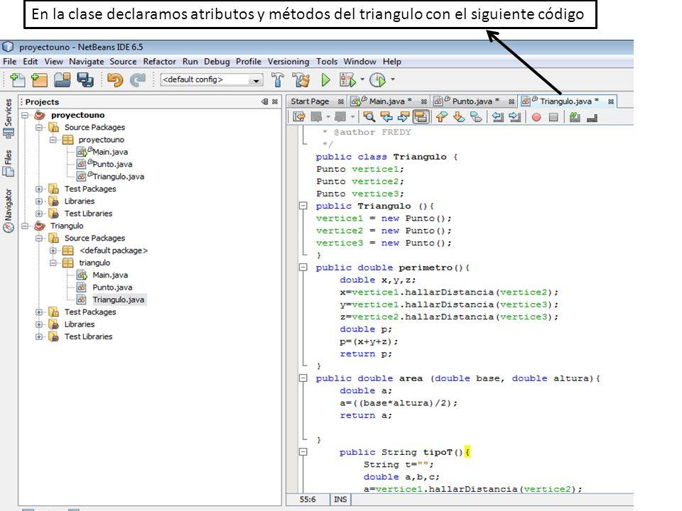 En la clase declaramos atributos y métodos del triangulo con el siguiente código