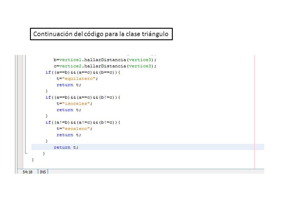 Continuación del código para la clase triángulo