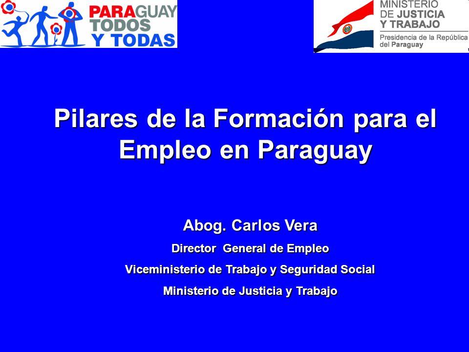 Pilares de la Formación para el Empleo en Paraguay Abog. Carlos Vera Director General de Empleo Viceministerio de Trabajo y Seguridad Social Ministeri