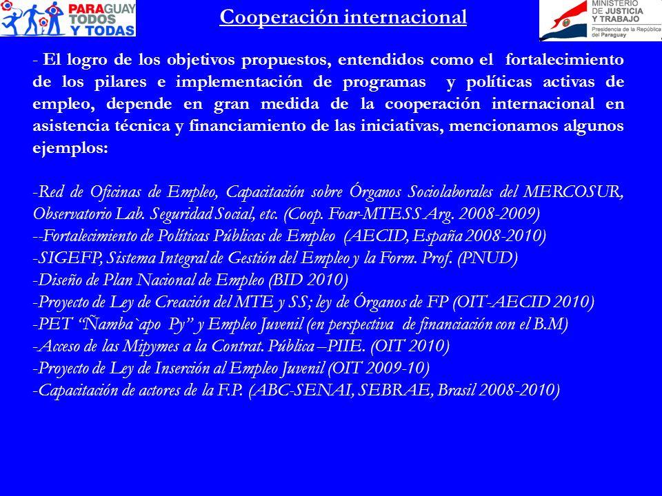 Cooperación internacional - El logro de los objetivos propuestos, entendidos como el fortalecimiento de los pilares e implementación de programas y po