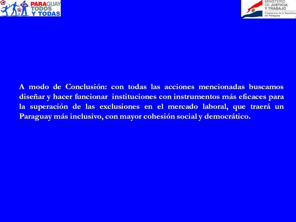 A modo de Conclusión: con todas las acciones mencionadas buscamos diseñar y hacer funcionar instituciones con instrumentos más eficaces para la superación de las exclusiones en el mercado laboral, que traerá un Paraguay más inclusivo, con mayor cohesión social y democrático.